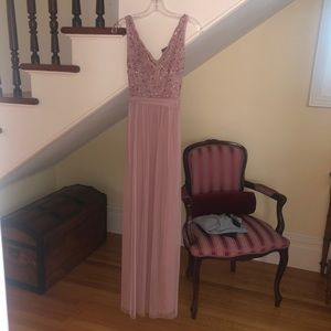 Light Pink Anthropology Sleeveless V-Neck Gown